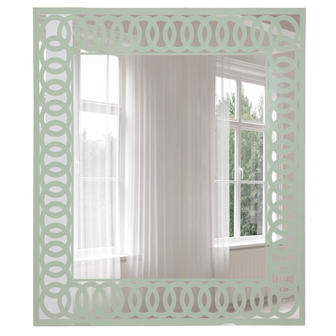 Wall Mirror   Frameless Decorative Mirror With Ultrafine Metallic Light  Sage Green Circular Pattern Border