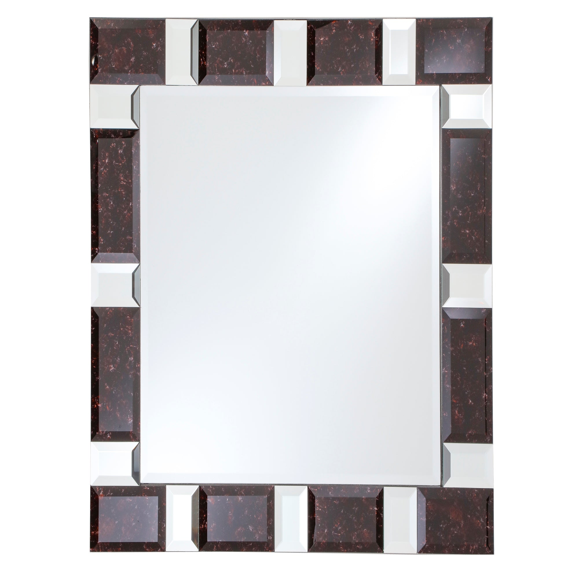 M00218 30 X 40 Rectangular Beveled Large Wall Mirror Decorative Mirror Framed With Black Maroon Marble Glass Tiles And Mirrored Beveled Border