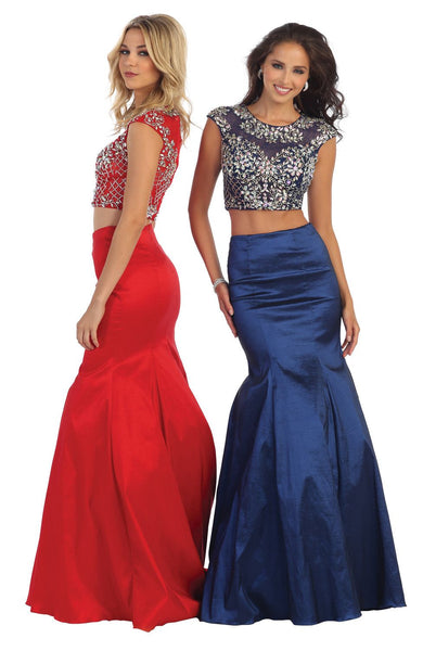 Two Piece Set Formal Prom Dress Homecoming - The Dress Outlet  May Queen
