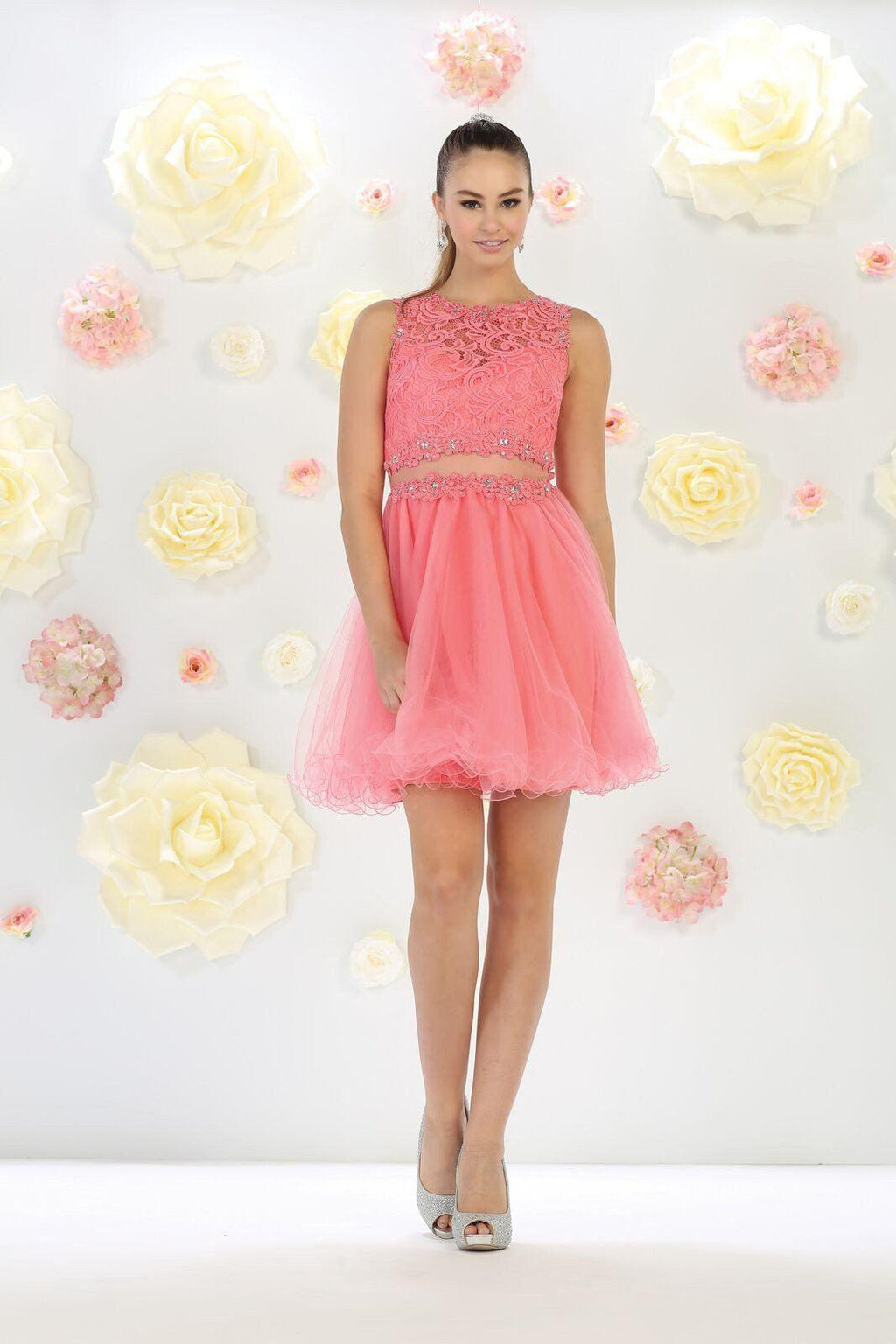 Short Prom Formal Homecoming Dress - The Dress Outlet Coral May Queen
