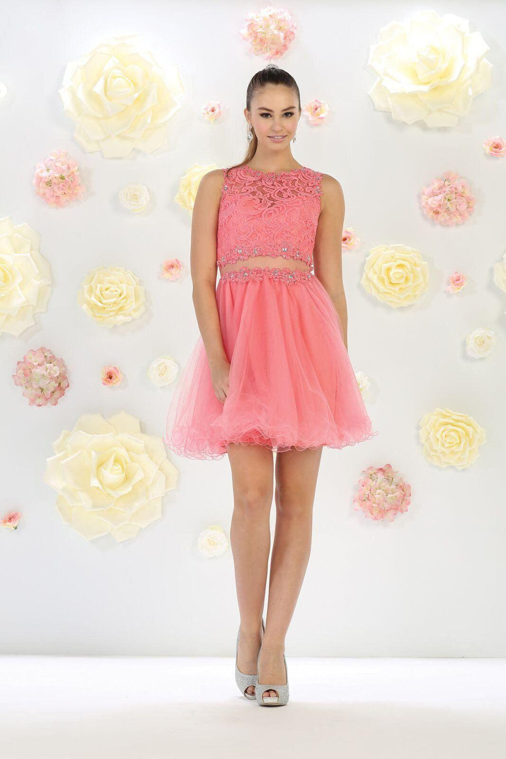 Short Prom Formal Homecoming Dress - The Dress Outlet Coral