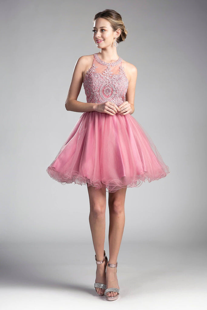 082dd7ae5564 Short Prom Halter Lace Bodice Homecoming Dress
