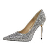 Wedding High Heels Poited Toe Bridal Shoes - The Dress Outlet Silver