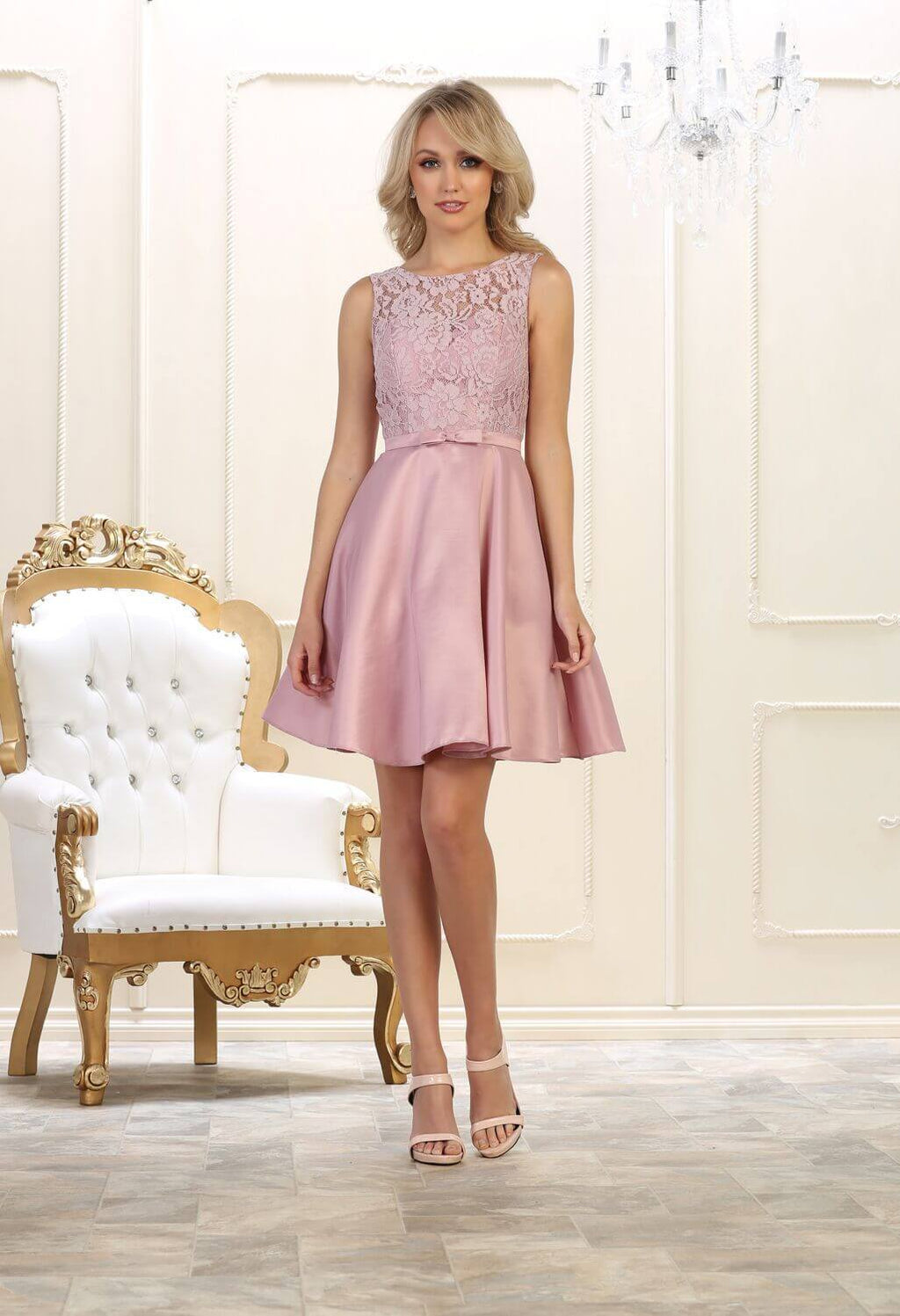 Short Prom Dress Formal Graduation Cocktail - The Dress Outlet Mauve May Queen