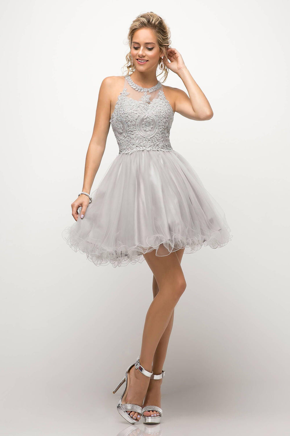 Short Prom Halter Neck Homecoming Dress - The Dress Outlet Silver