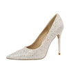 Wedding High Heels Poited Toe Bridal Shoes - The Dress Outlet White