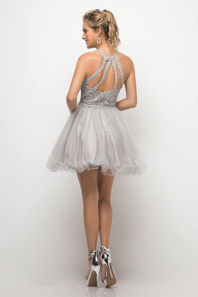 Short Prom Halter Neck Homecoming Dress - The Dress Outlet Silver May Queen