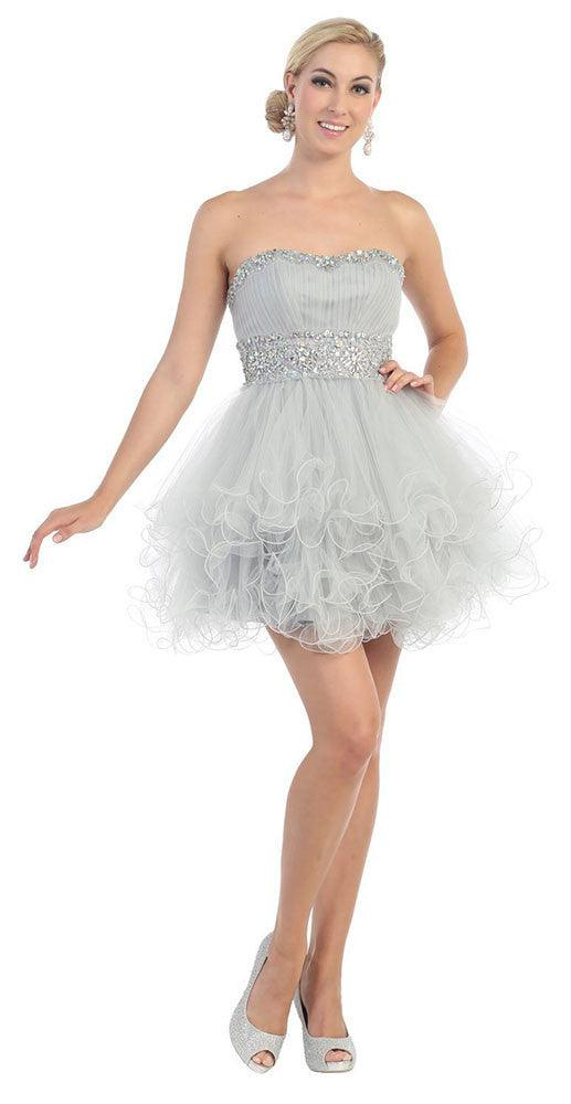 Short Prom Dress Plus Size Homecoming - The Dress Outlet Silver