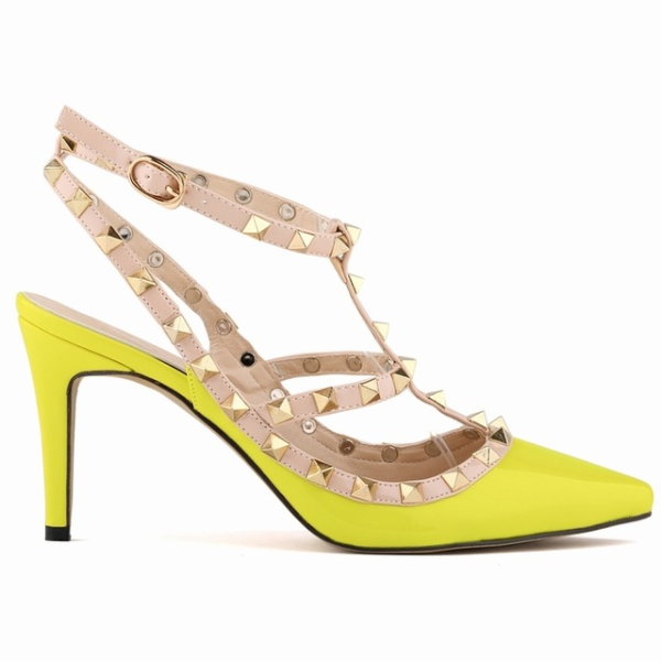 Yellow High Heeled Stiletto Hollow Shoes - The Dress Outlet Yellow Green LD