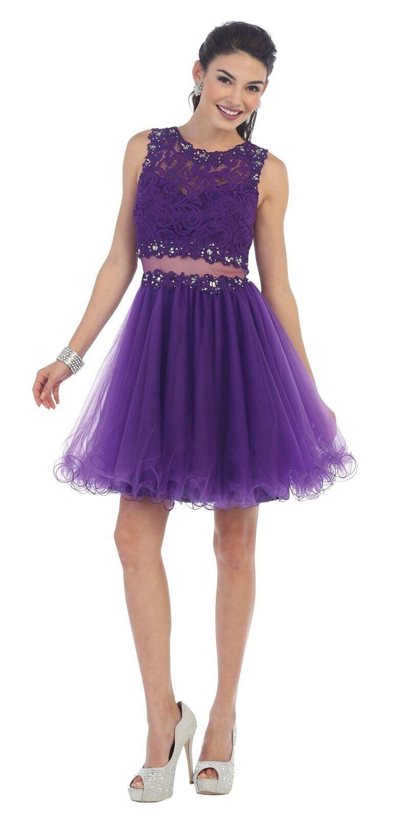 Short Prom Formal Homecoming Dress - The Dress Outlet Purple May Queen