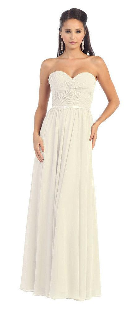 Simple Wedding Plus Size Long Gown - The Dress Outlet Ivory