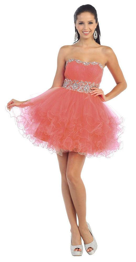 Short Prom Dress Plus Size Homecoming - The Dress Outlet Raspberry
