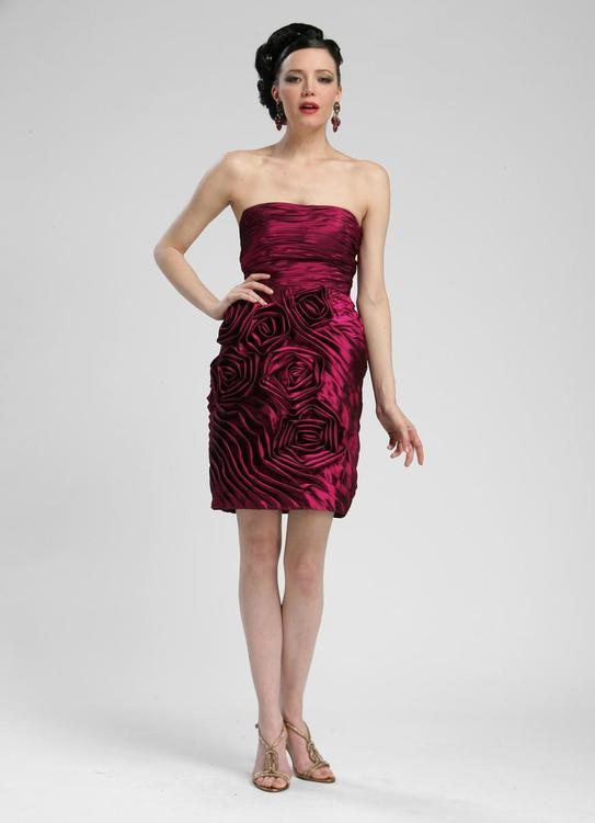Sue Wong Short Straplesss Cocktail Party Dress - The Dress Outlet Plum