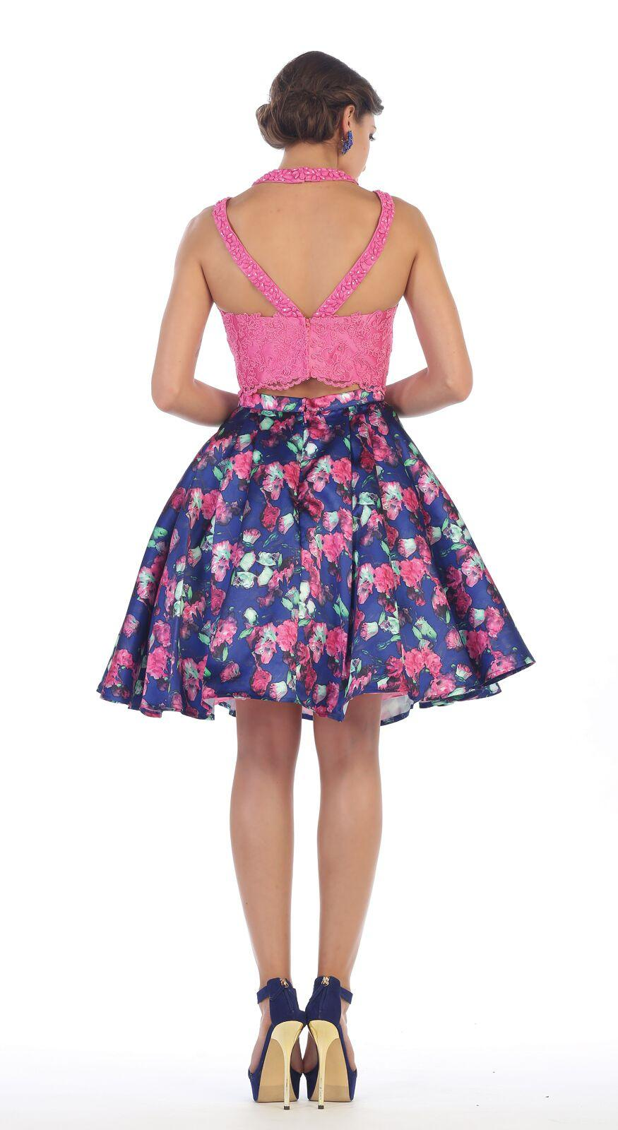 714b1519168 ... Short Two Piece Set Floral Print Prom Dress - The Dress Outlet May Queen  ...