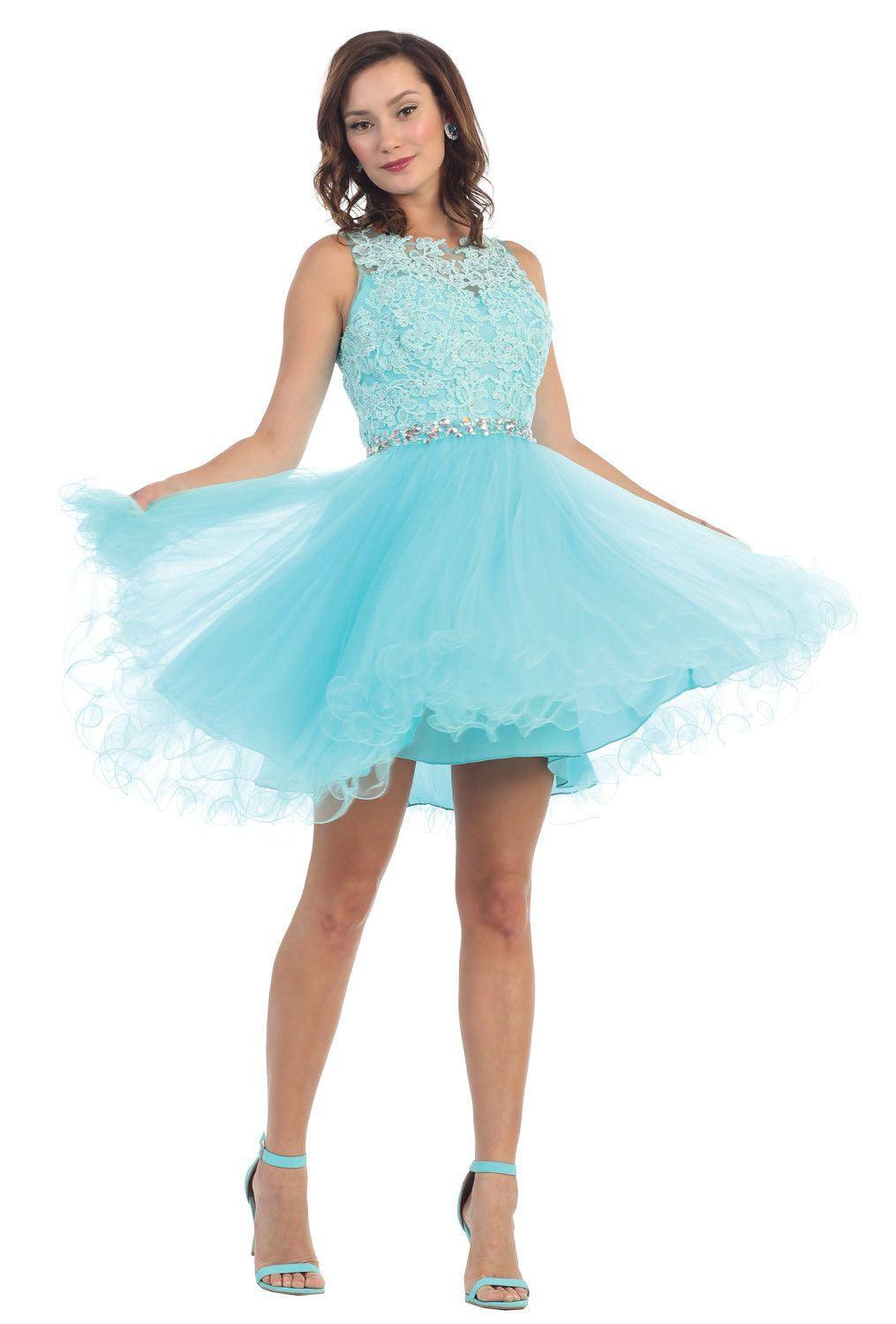 Short Prom Homecoming Graduation Dress - The Dress Outlet Aqua