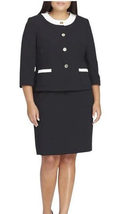 Tahari Long Sleeve Crepe Twill Skirt Set Plus Size Suit