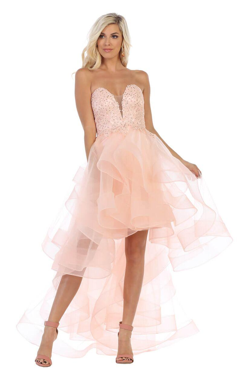 Strapless High Low Prom Dress Ruffled Skirt Gown - The Dress Outlet Blush