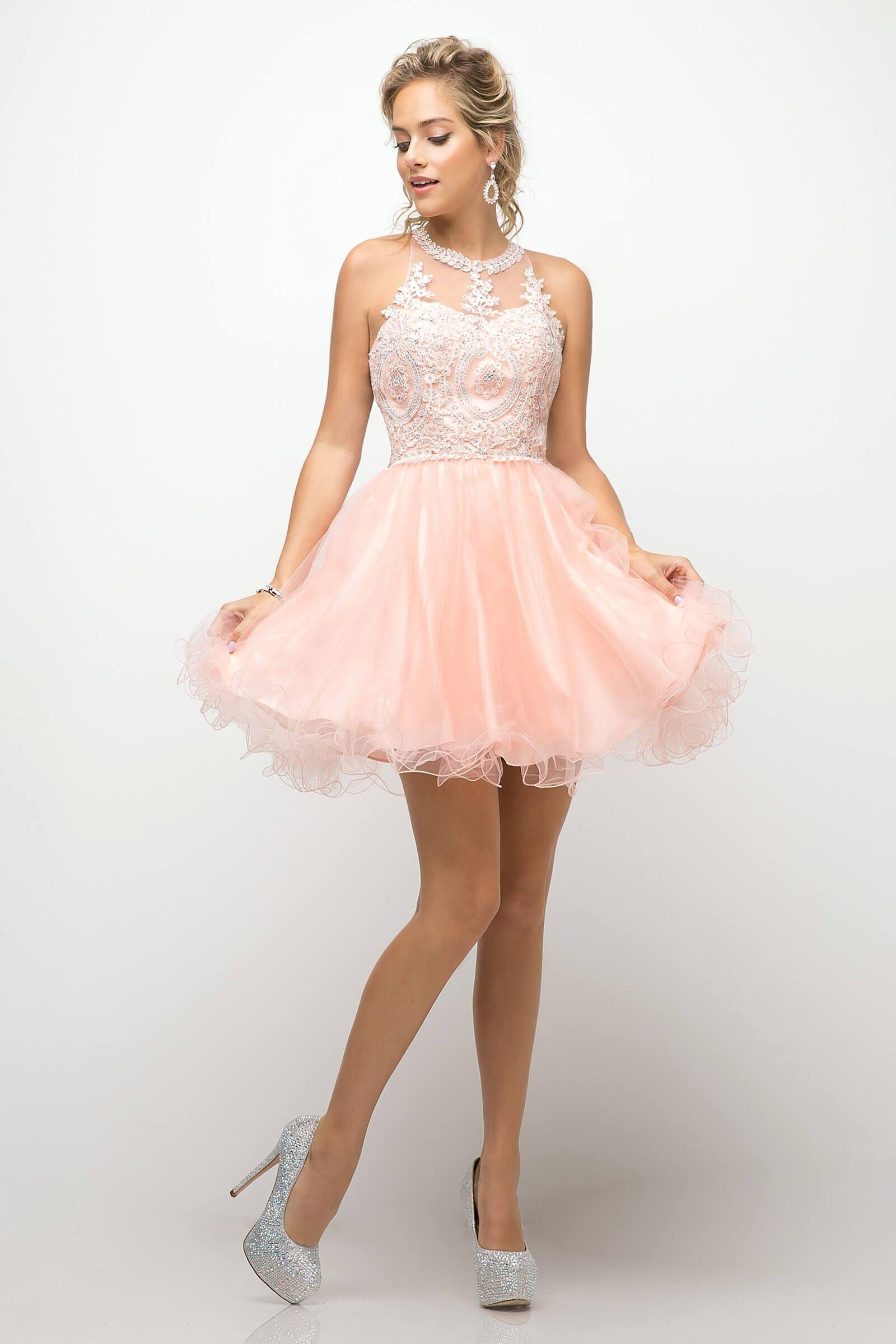 42d78121e7 ... Short Prom Halter Lace Bodice Homecoming Dress - The Dress Outlet Blush  Cinderella Divine ...