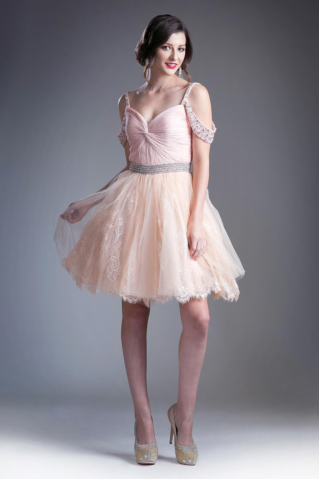 Short Prom Homecoming Cocktail Dress - The Dress Outlet Blush