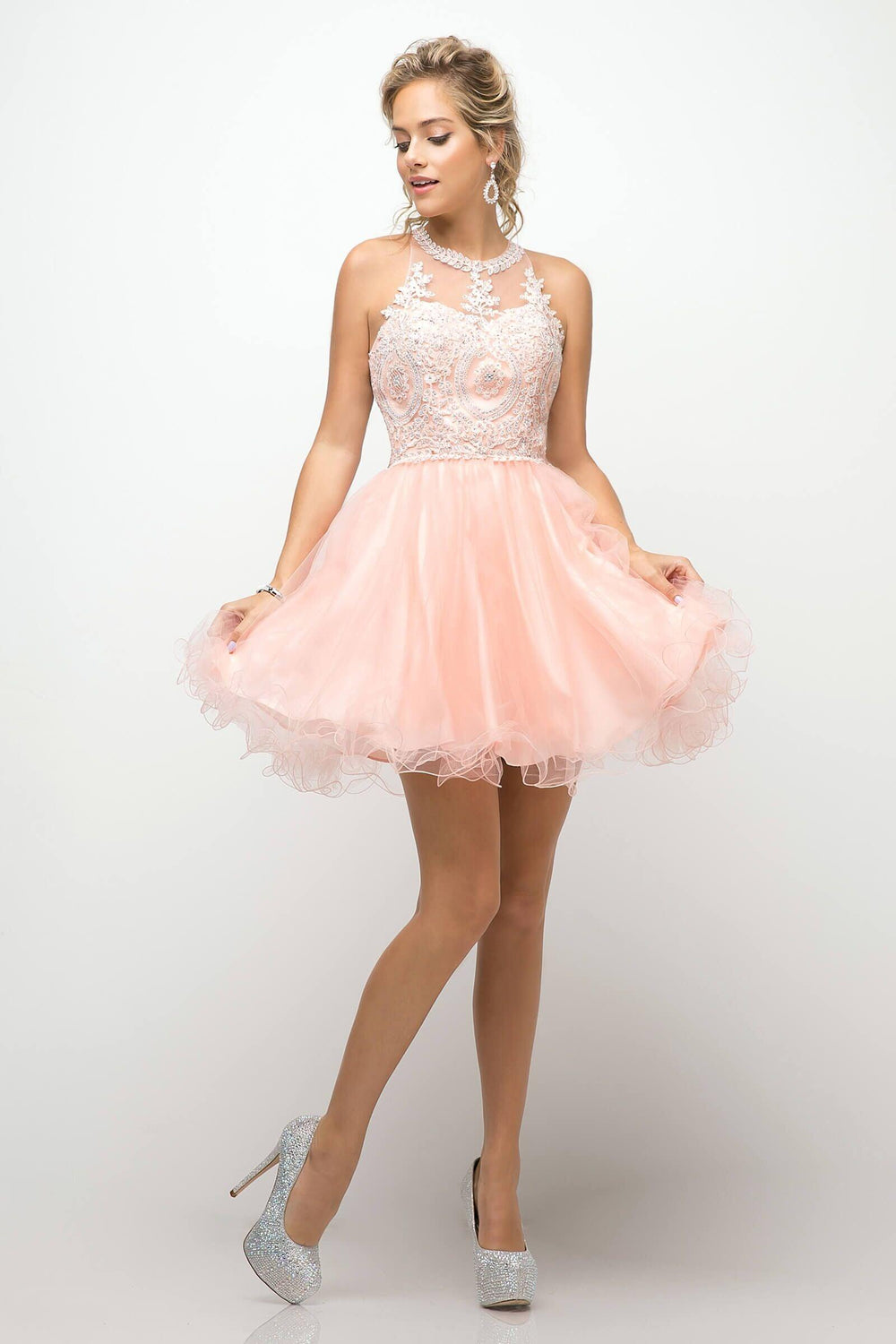 Short Prom Halter Neck Homecoming Dress - The Dress Outlet Blush