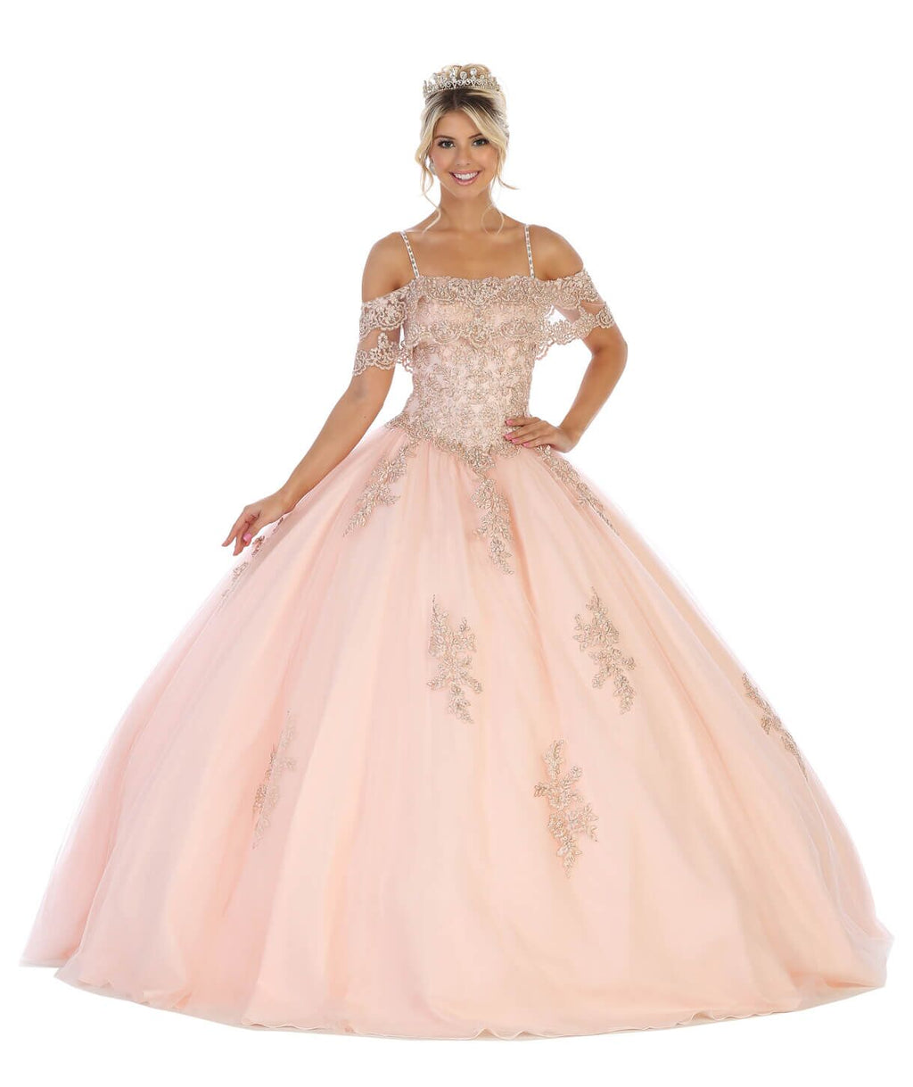 Sweet 16 Long Quinceanera Plus Size Dress - The Dress Outlet Blush May Queen