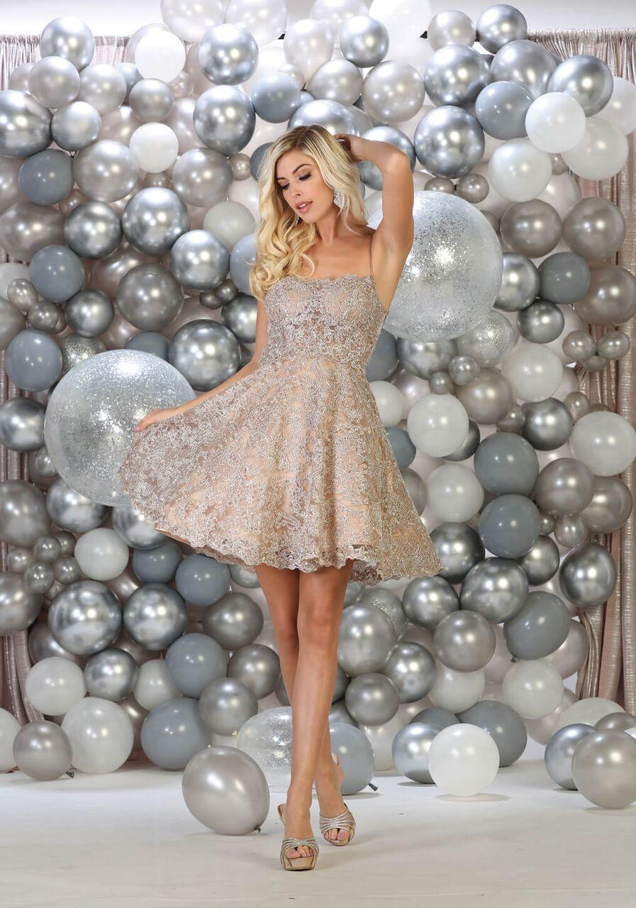 Short Prom Homecoming Cocktail Party Dress - The Dress Outlet Champagne