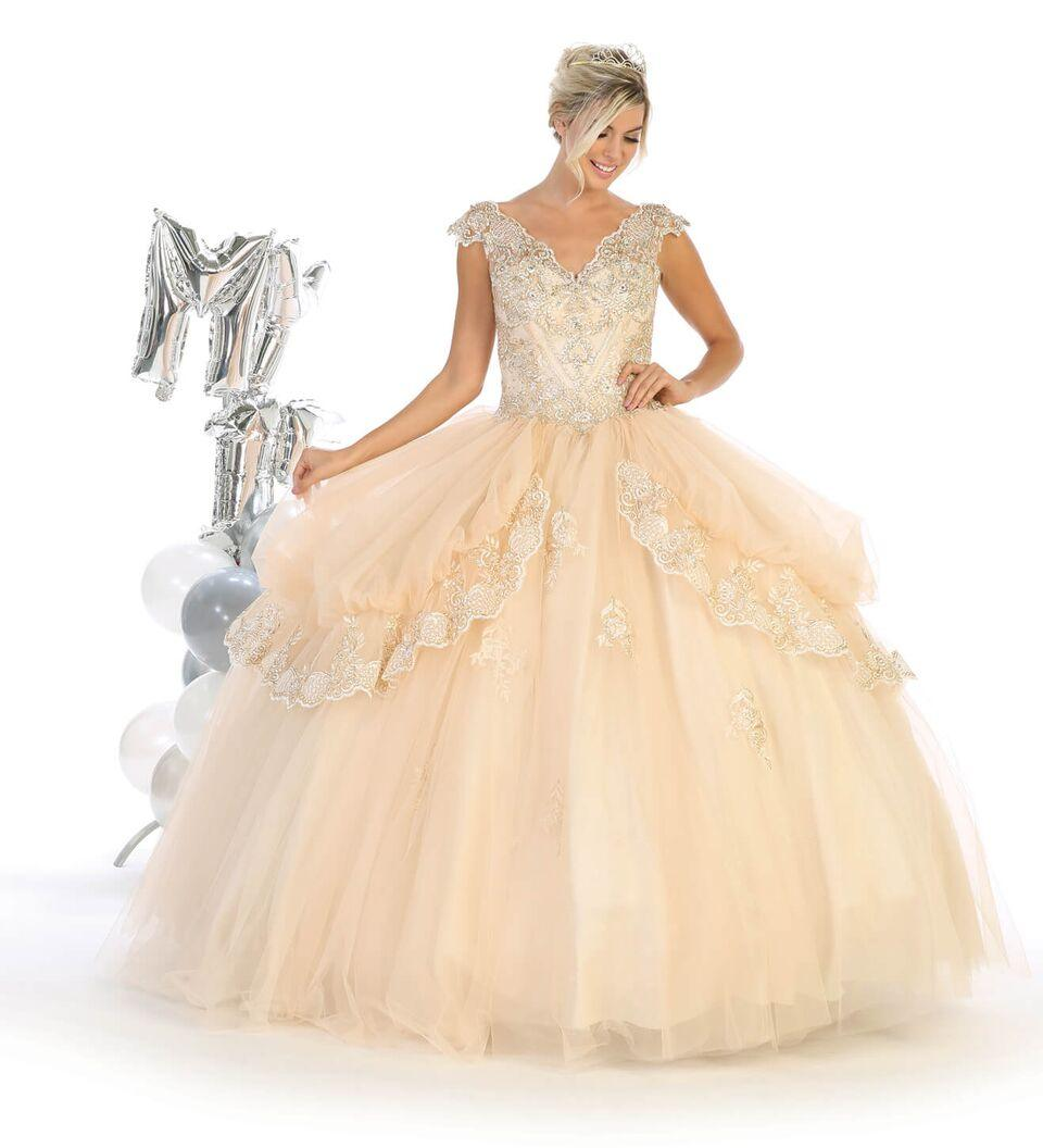 Sweet 16 Long Cap Sleeve Quinceanera Dress - The Dress Outlet Champagne