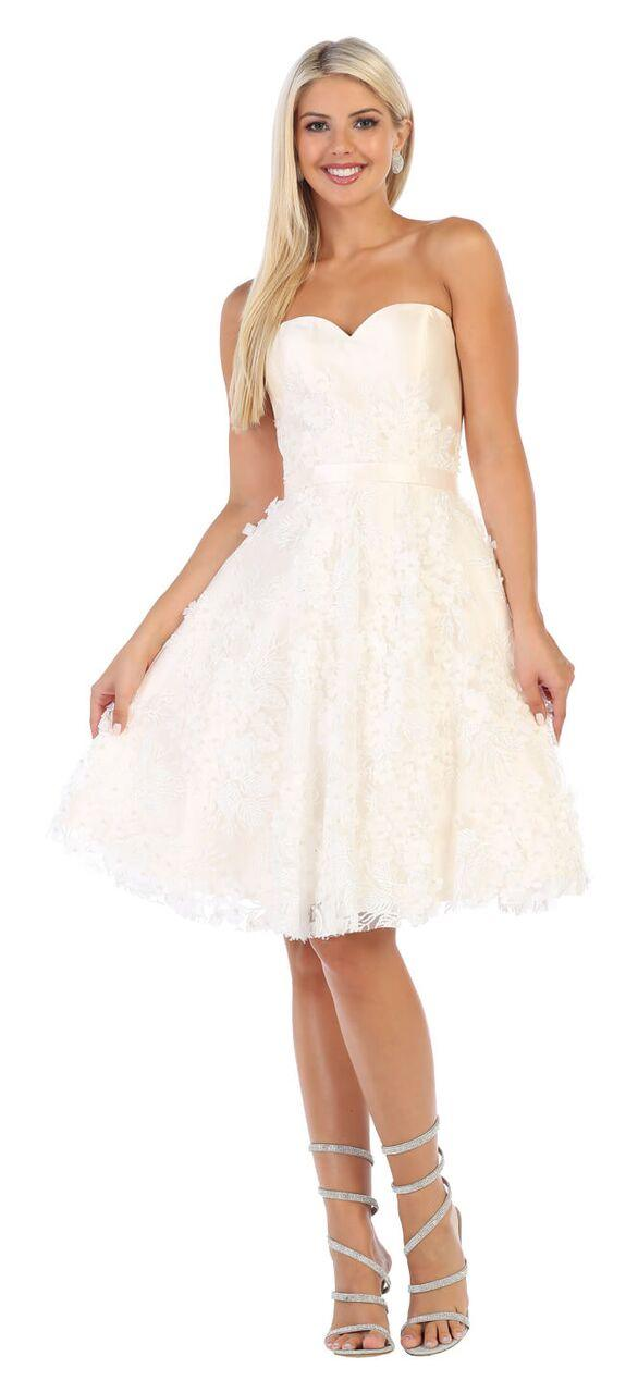 Short Prom Strapless Graduation Cocktail Dress - The Dress Outlet Champagne/Ivory