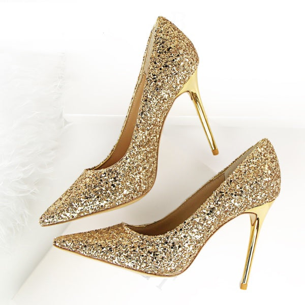Wedding High Heels Poited Toe Bridal Shoes - The Dress Outlet Gold