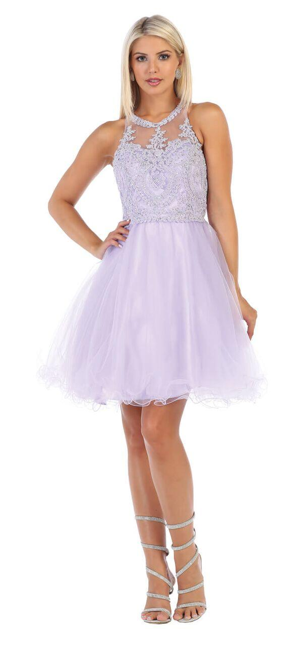 Short Prom Halter Neck Homecoming Dress - The Dress Outlet Lilac