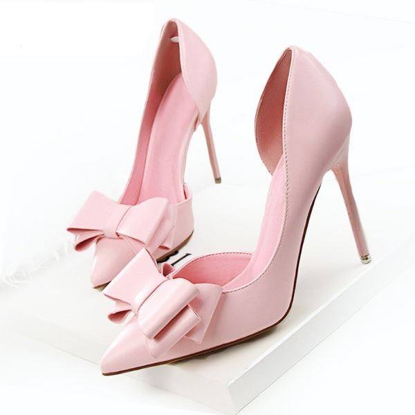 Women's Hollow Pointed Toes High Heels Bridal Shoes - The Dress Outlet Pink LS