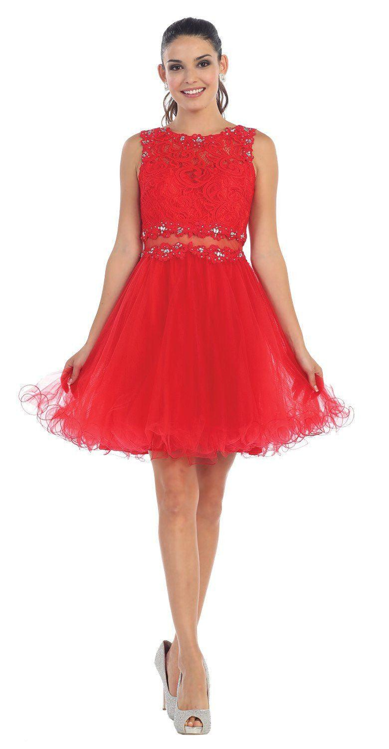 Short Prom Formal Homecoming Dress - The Dress Outlet Red May Queen