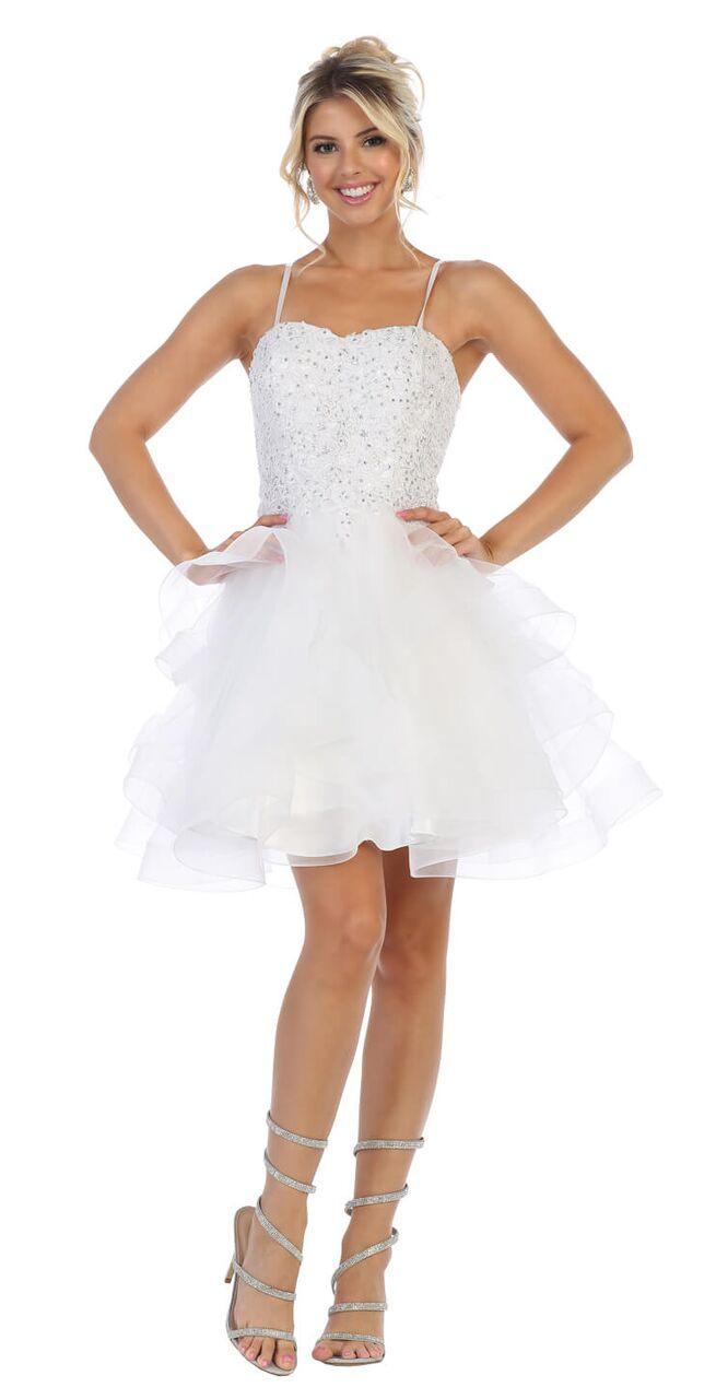 Short Prom Graduation Strap Dress with Ruffled Skirt - The Dress Outlet White