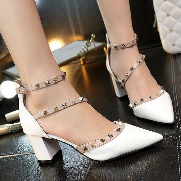 Wedding Buckle Rivets Bridal Shoes Pointed Toe - The Dress Outlet White
