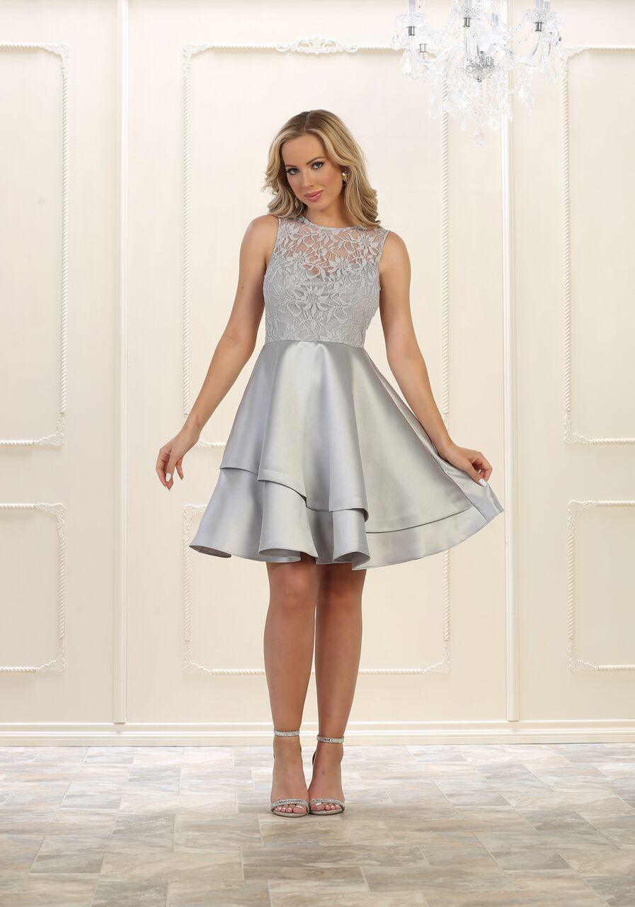 Short Prom Dress Homecoming Plus Size Cocktail - The Dress Outlet Silver
