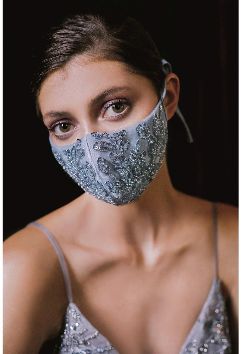 Smoky Blue Beaded Formal Face Mask