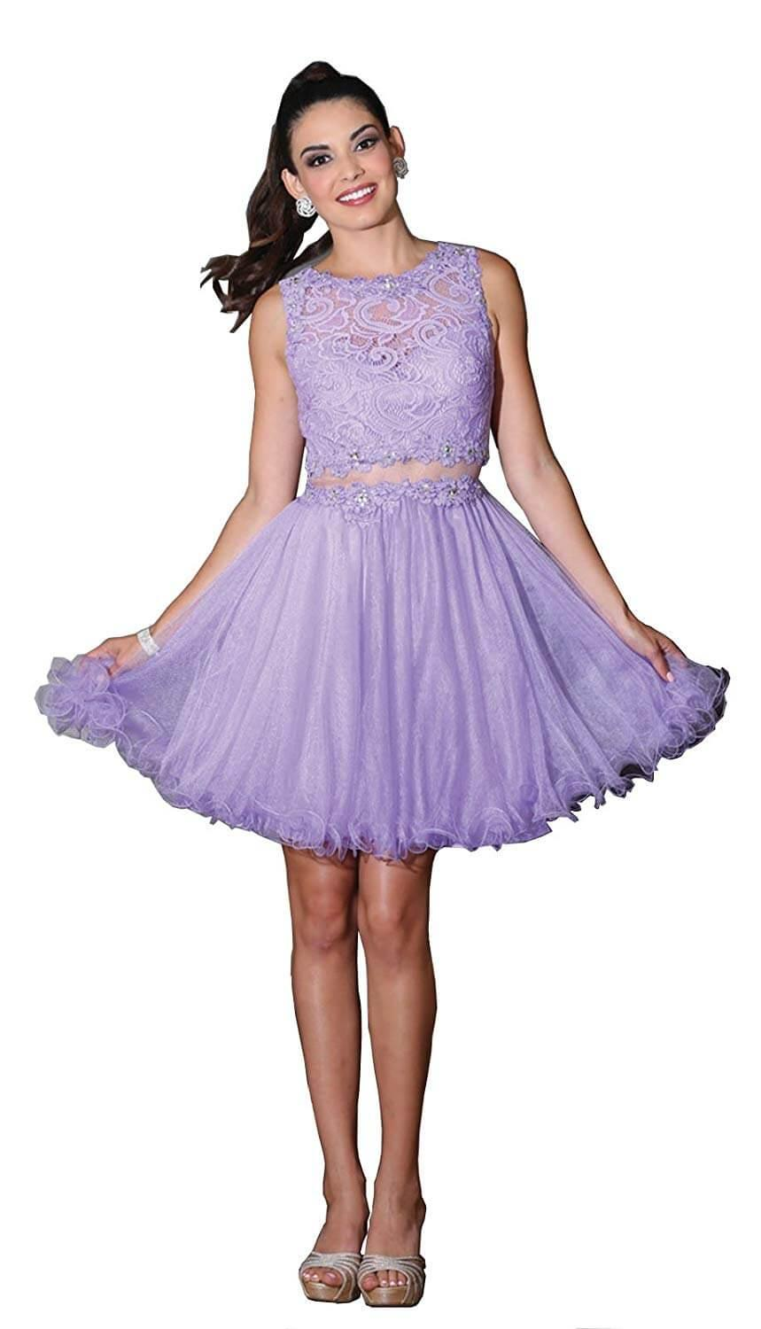 Short Prom Formal Homecoming Dress - The Dress Outlet Lilac