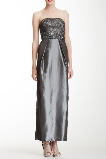 Sue Wong Long Formal Dress Evening Gown Prom - The Dress Outlet Charcoal