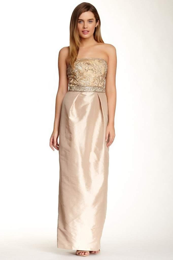 Sue Wong Long Formal Dress Evening Gown Prom - The Dress Outlet Beige