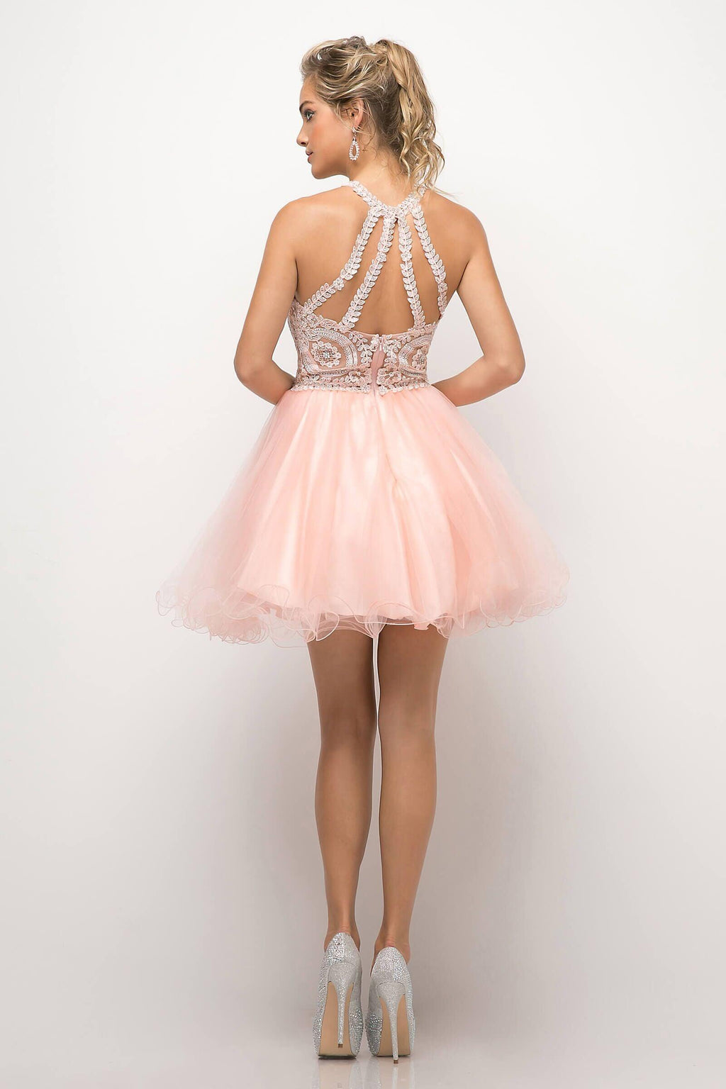 Short Prom Halter Neck Homecoming Dress - The Dress Outlet  May Queen