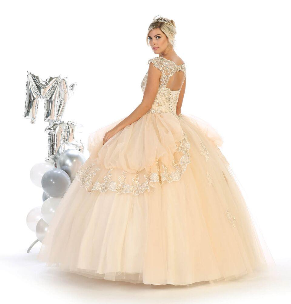 Sweet 16 Long Cap Sleeve Quinceanera Dress - The Dress Outlet