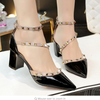 Wedding Buckle Rivets Bridal Shoes Pointed Toe - The Dress Outlet Black