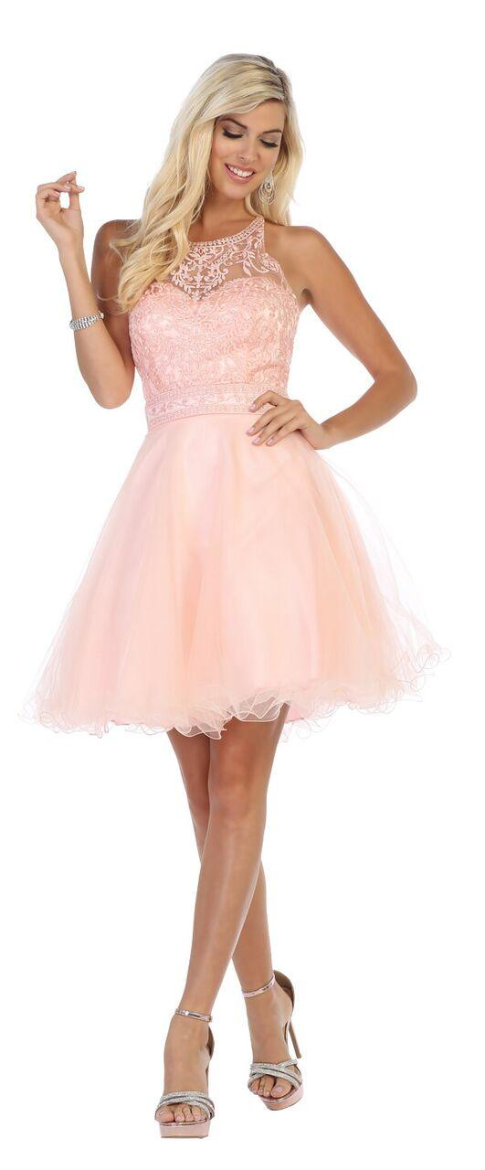 Short Tulle Halter Plus Size Prom Cocktail Party Dress - The Dress Outlet Blush