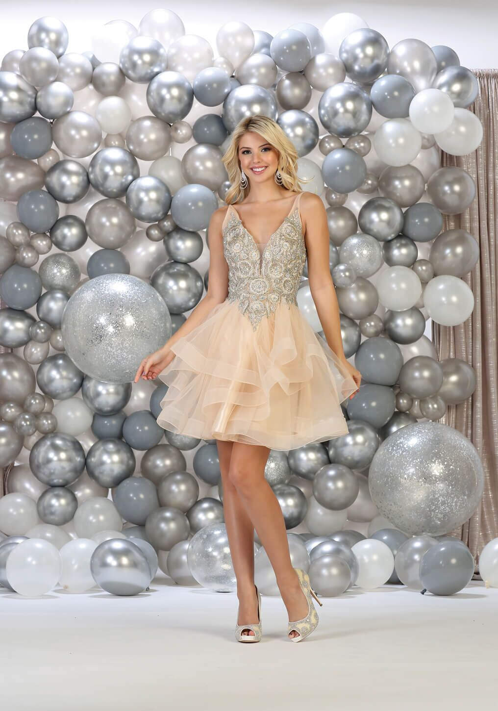 Short Spaghetti Strap Prom Homecoming Cocktail Dress - The Dress Outlet Champagne