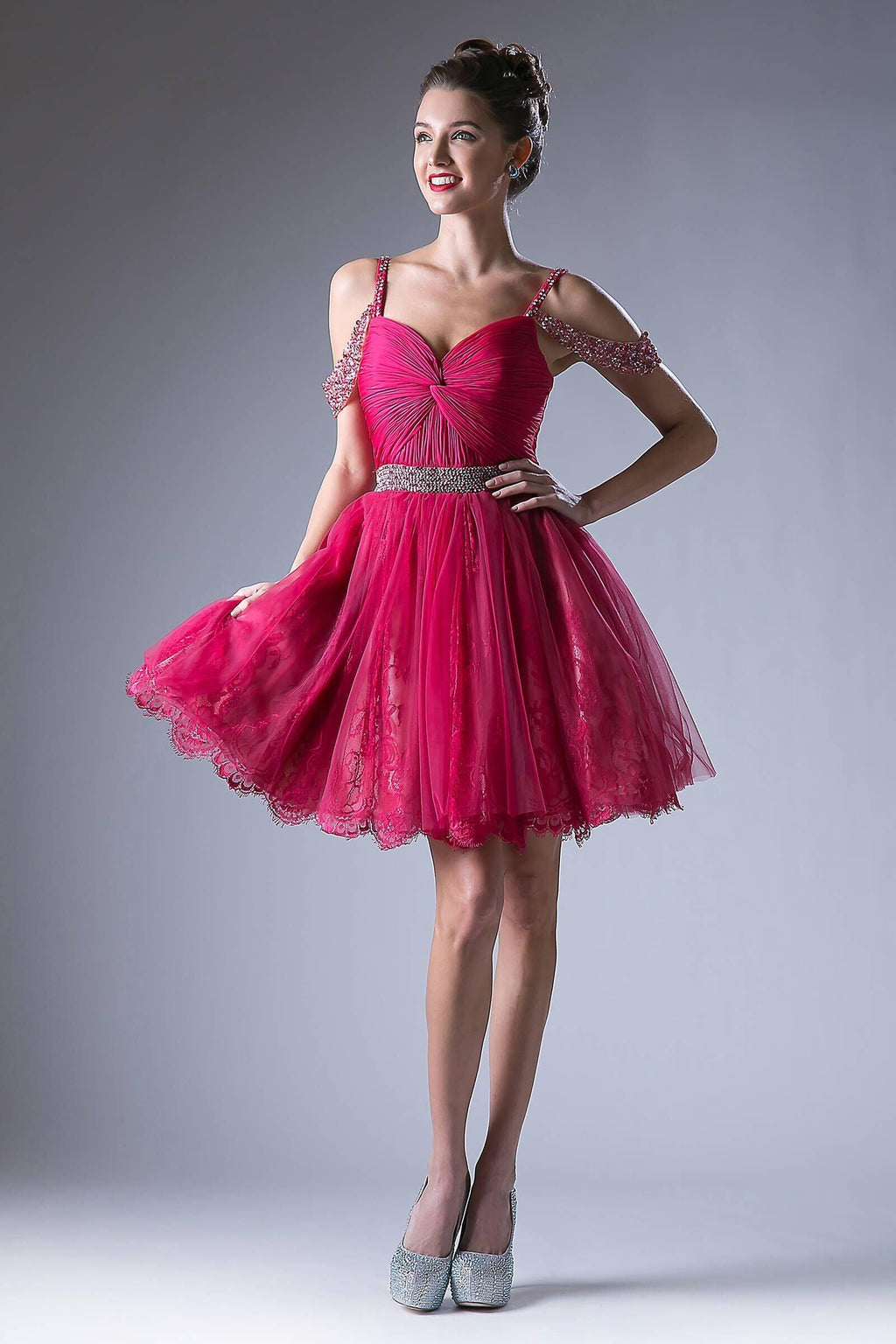 Short Prom Homecoming Cocktail Dress - The Dress Outlet Fuchsia