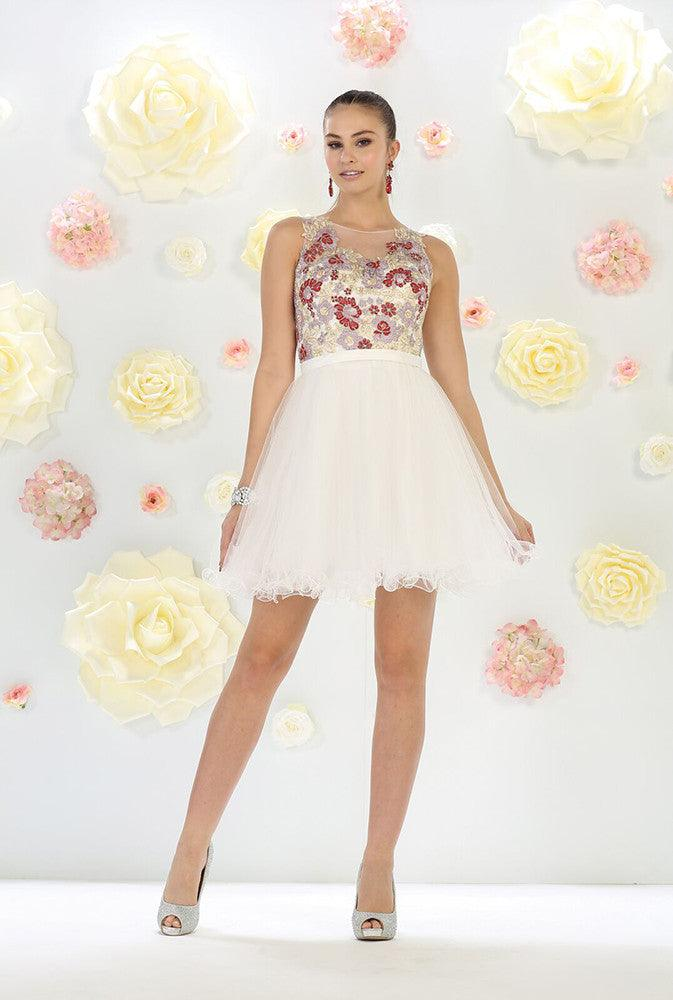 Short Wedding Dress - The Dress Outlet Ivory