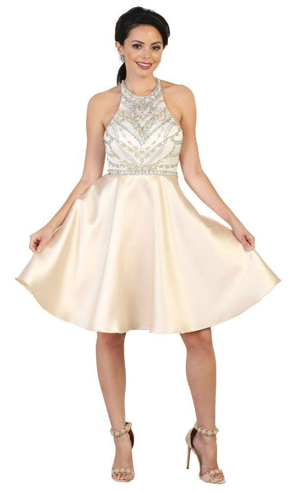 Short Prom Dress Homecoming Cocktail Party - The Dress Outlet Champagne