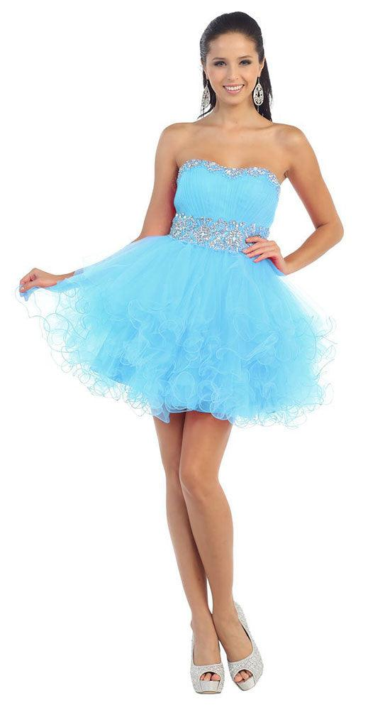 Short Prom Dress Plus Size Homecoming - The Dress Outlet Aqua