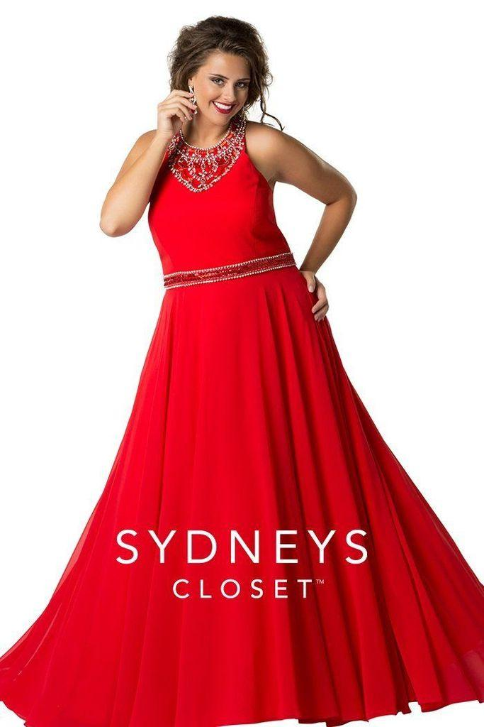 Sydneys Closet Long Formal Prom Dress - The Dress Outlet Red
