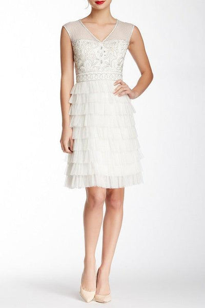 Sue Wong Short Dress Cocktail - The Dress Outlet Ivory